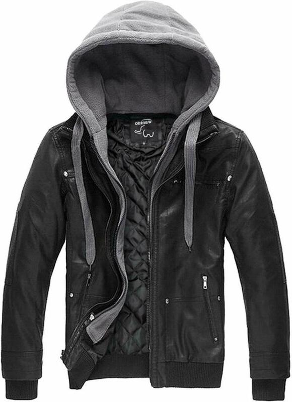men s faux leather jacket with removable