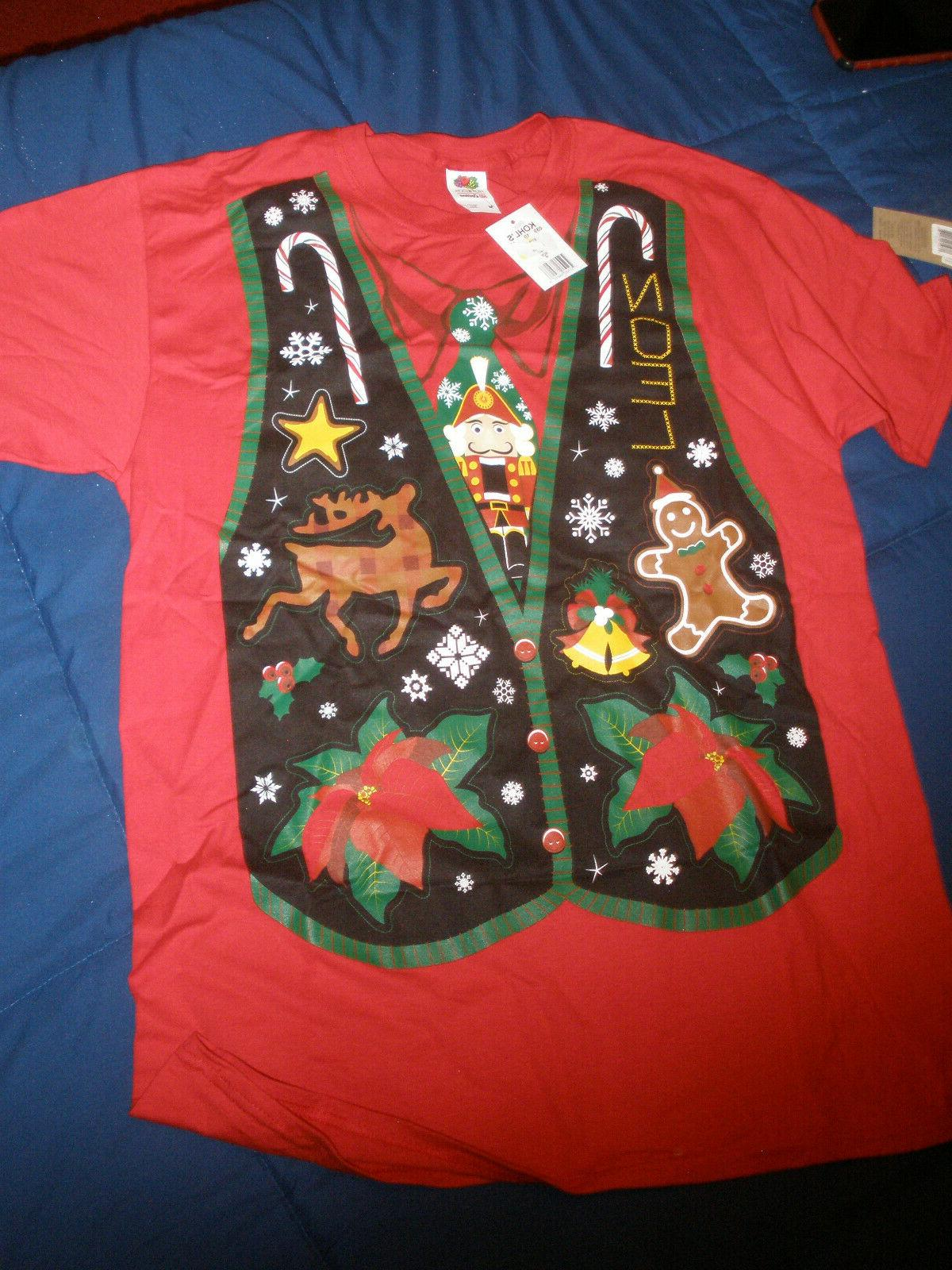 men s holiday tee size m red