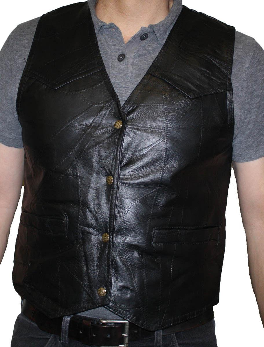 Men's Stone Design Genuine Leather Vest