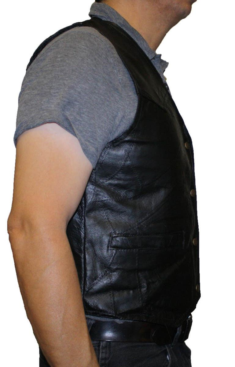 Men's Motorcycle Stone Design Genuine Vest