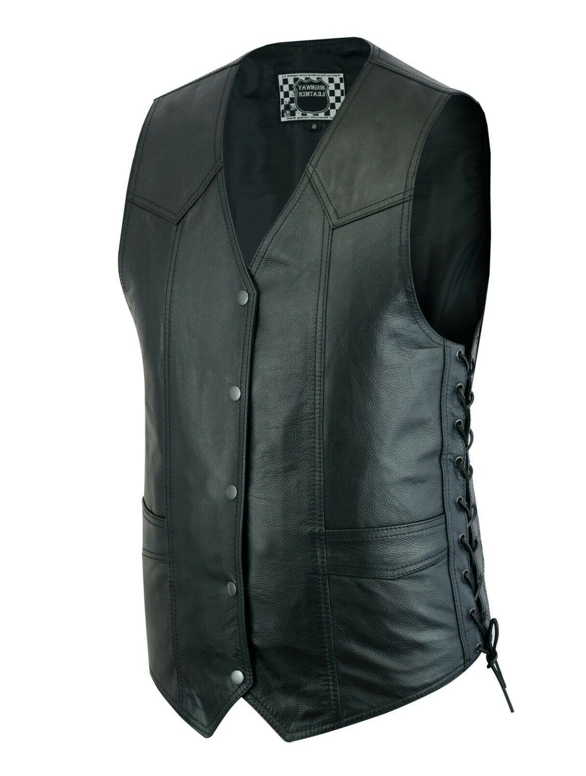 men s motorcycle leather vest biker club