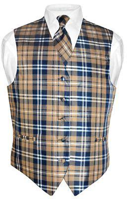 Men's Plaid Vest BROWN White Suit