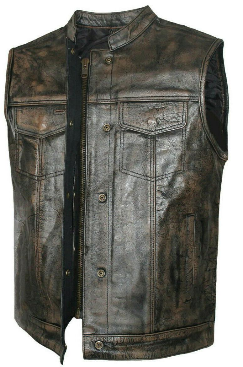 Men's Motorcycle Distressed brown Leather Concealed Carry