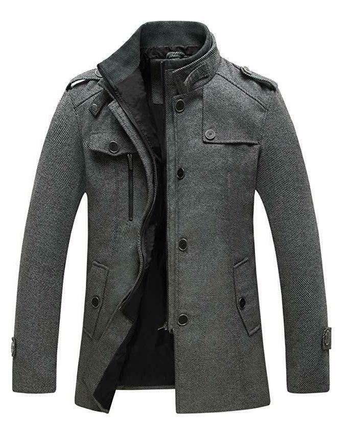 men s wool blend jacket stand collar