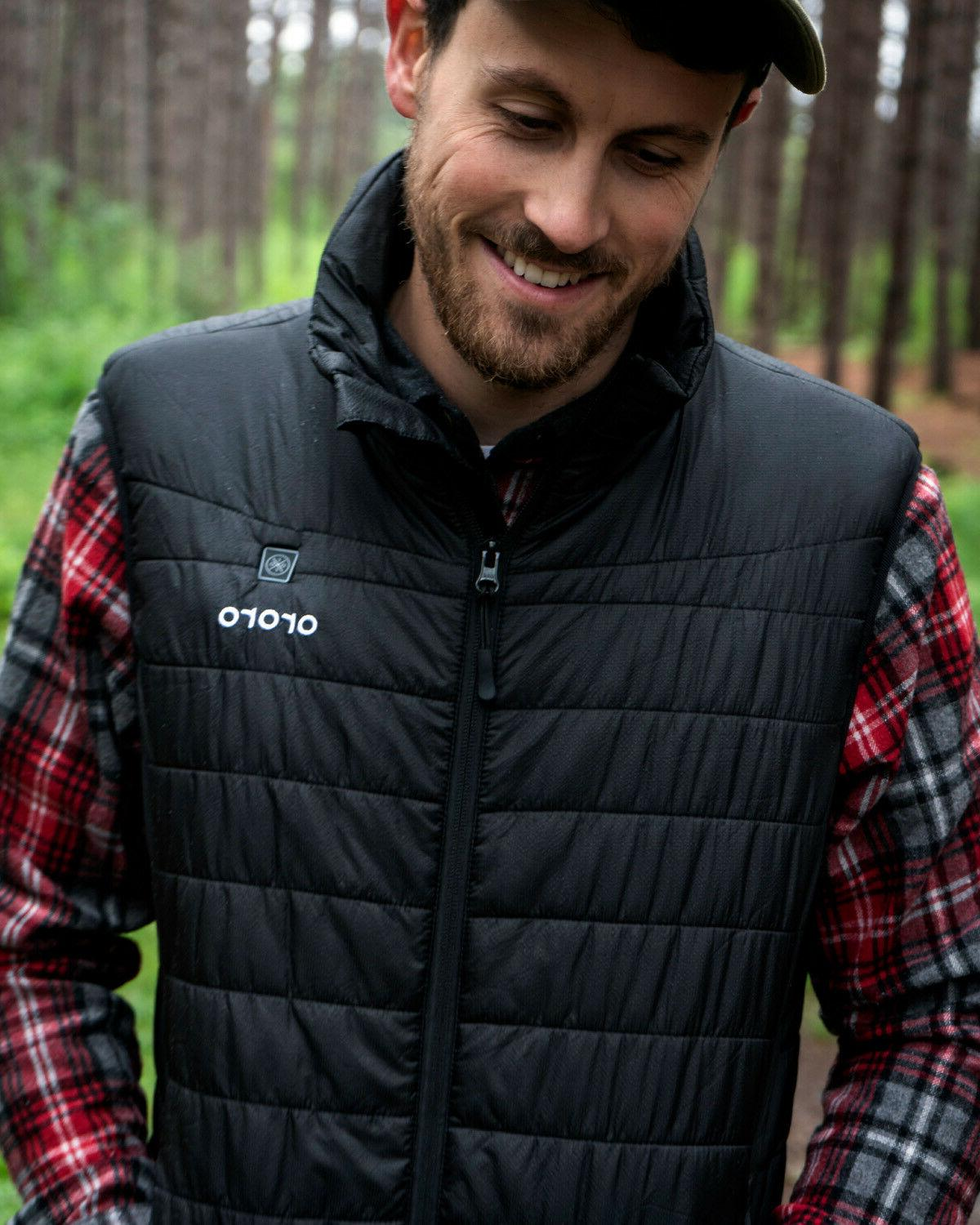 ORORO Men Heated Down Vest Motorcycle Hunting Hiking Mobile