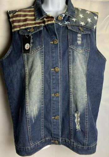 mens distressed denim flag vest nwt size