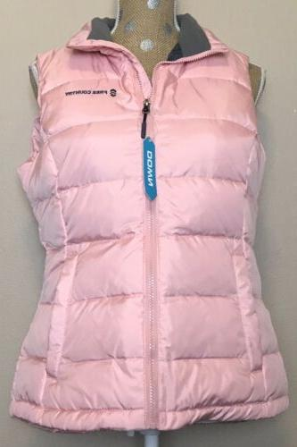 nwt womens quilted winter down vest peach