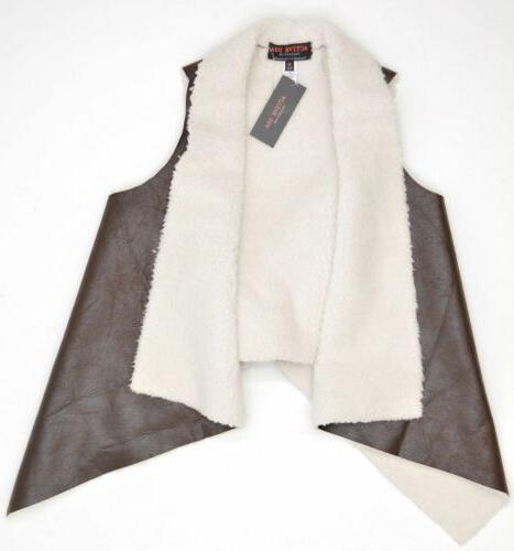 open front sleeveless faux leather vest sz
