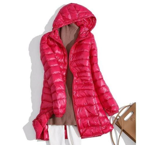Packable Womens Ultralight Hooded Jacket Winter Puffer Warm