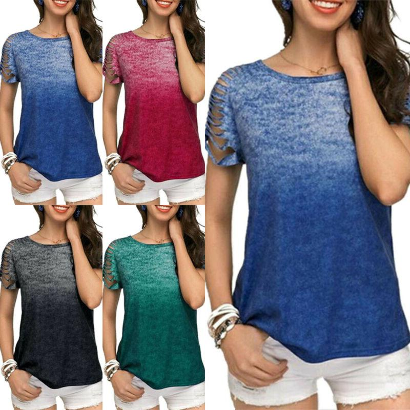 Plus Gradient Sleeve Tank Baggy Tunic Tee