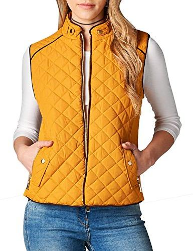 KOGMO Womens Quilted Lined Lightweight up Vest S-3X-3X-MUSTARD
