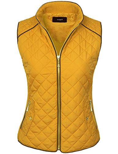 KOGMO Womens Quilted Fully Lined Lightweight Zip Vest