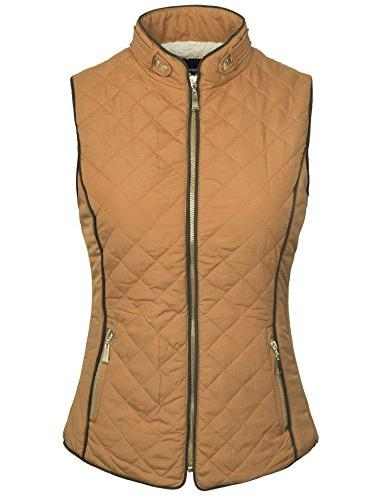 BOHENY Womens Fully Lined Zip Up Vest Fur -2X-CAMEL