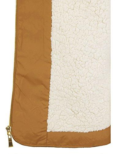 BOHENY Womens Quilted Lined Up Vest with Fur -2X-CAMEL