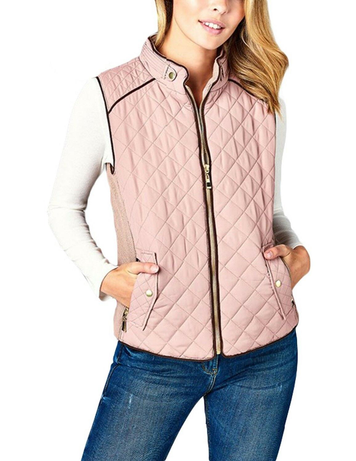 quilted padded vest with suede piping detail