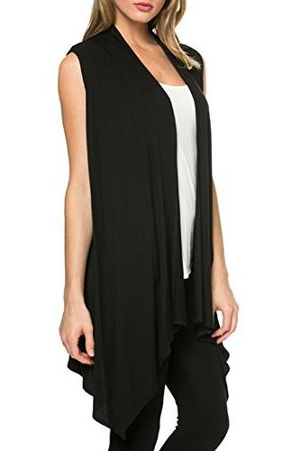 Azules Women's Asymmetric Hem Open Cardigan, Black, Large
