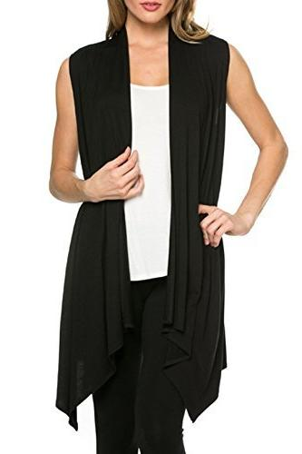 sleeveless asymmetric hem open front