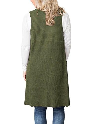 Malaven Front Sweaters Long Cardigans Vest Army Green 4 6