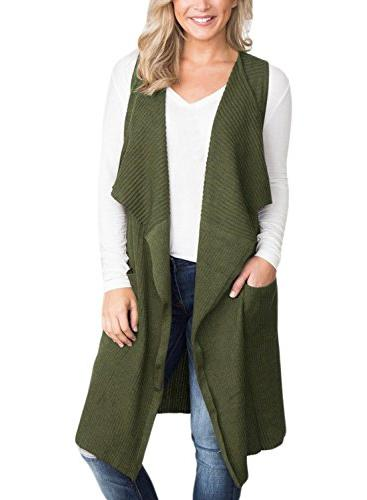 sleeveless open front sweaters long