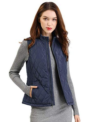 Allegra K Women's Stand Collar Quilted Padded Vest Blue