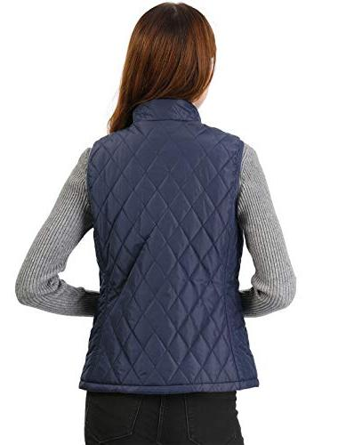 Allegra Women's Collar Up Quilted Padded Blue