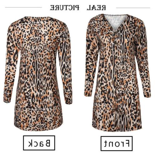 us stock women leopard print top cardigan