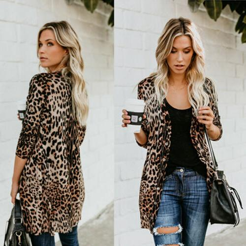 US Women Leopard Print Top Cardigan Casual Long Sweater Coat Outwear