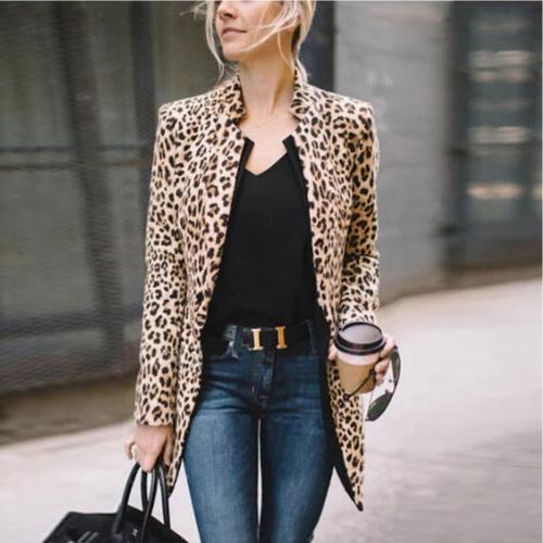 US Women Ladies Leopard Jacket Lapel Tops Coat Outwear