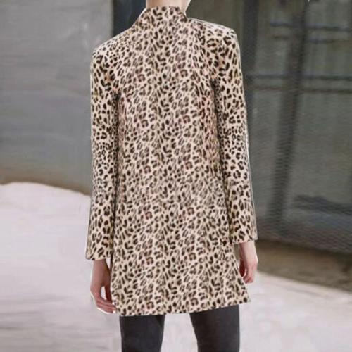US Women Ladies Leopard Jacket Lapel Casual Tops Coat Outwear