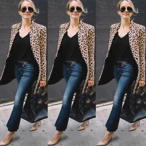 US Ladies Leopard Jacket Zip Up Lapel Suit Casual Tops Coat