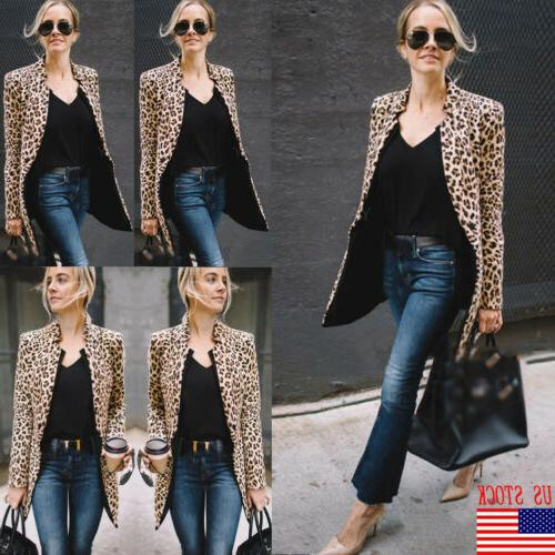 us women ladies leopard jacket coats zip