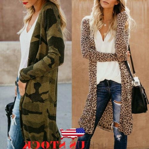 us women loose long sleeve cardigan leopard