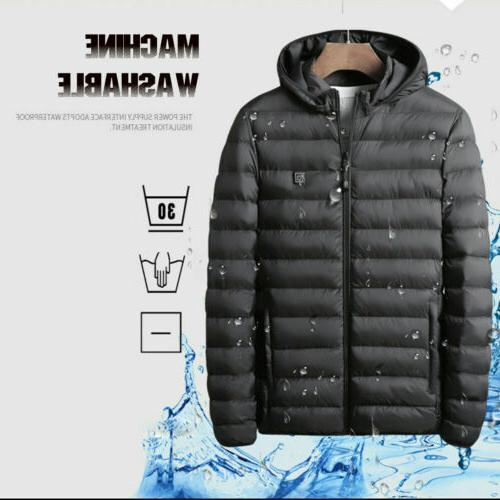 USB Electric Heated Jacket Hooded Winter Thermal Warmer Men US