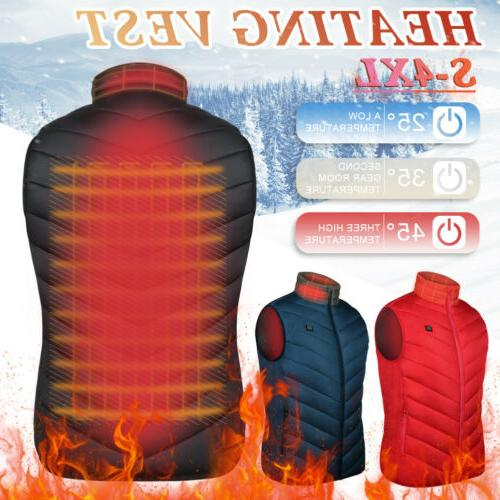 USB Electric Heated Warm Vest Men Women Rechargeable Heating