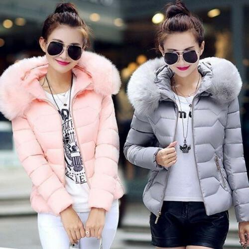 Women Cotton-Padded Winter Fur Collar with Hoodie Parka