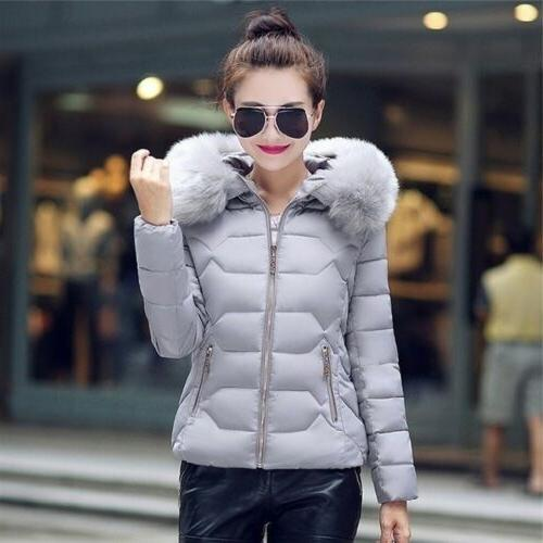 Women Jackets Cotton-Padded Winter Coat Large Collar with Hoodie