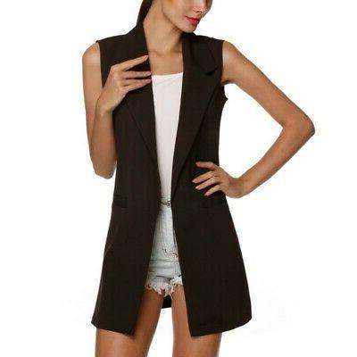 Women Long Cardigan Vest Ladies Cape Coat Blazer US