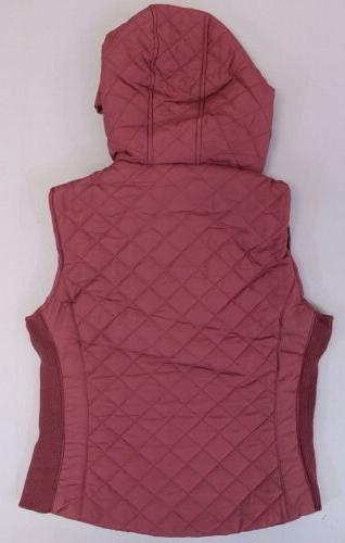 Active Women's Hooded Quilted Side Detailed KB8 Burgundy