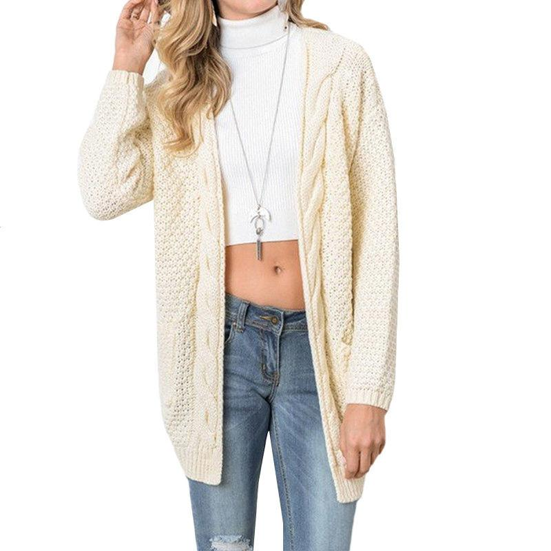 Women's Chunky Knit Pocket Long Sleeves Plus