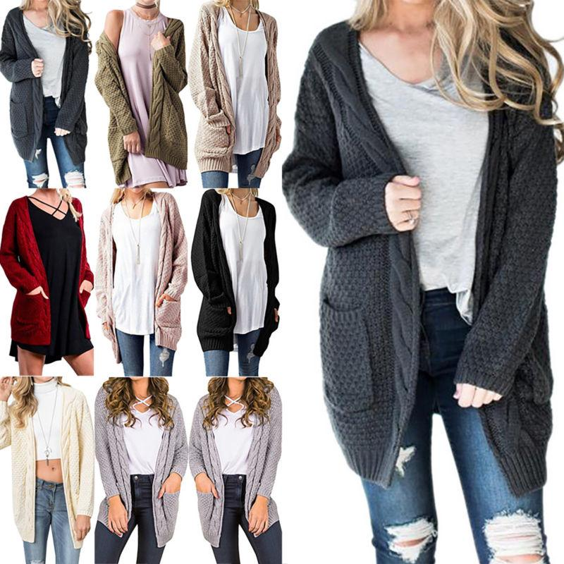 Women's Ladies Knit Cardigan Long Sleeves Size