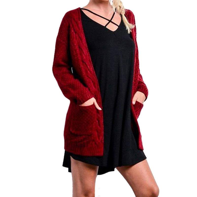 Women's Ladies Chunky Knit Cardigan Sleeves Plus Size