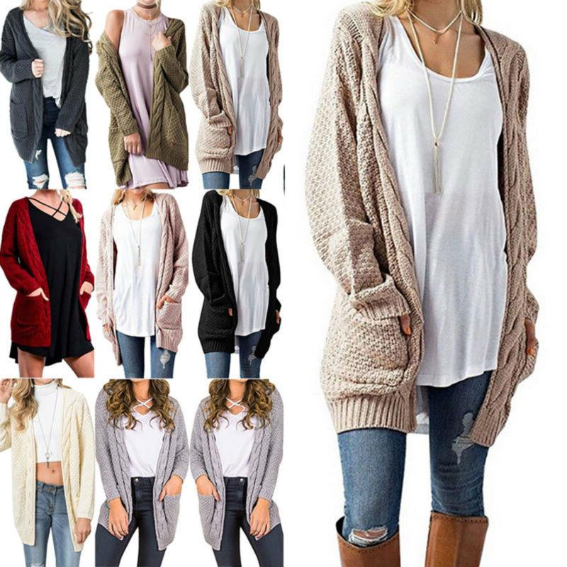 women s ladies chunky cable knit cardigan