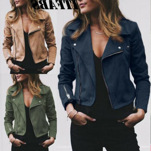 Women's Ladies Jacket Coat Up Biker Clothes
