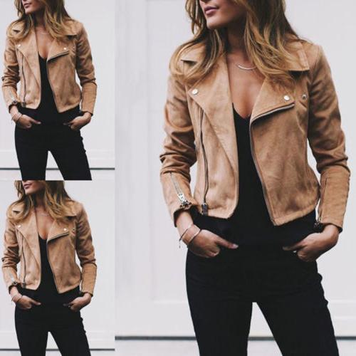 Women's Ladies Suede Jacket Flight Up Casual Tops