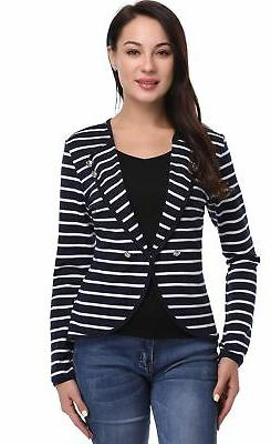 Argstar Women's Lapel Striped Blazers Button Décor Lightwei