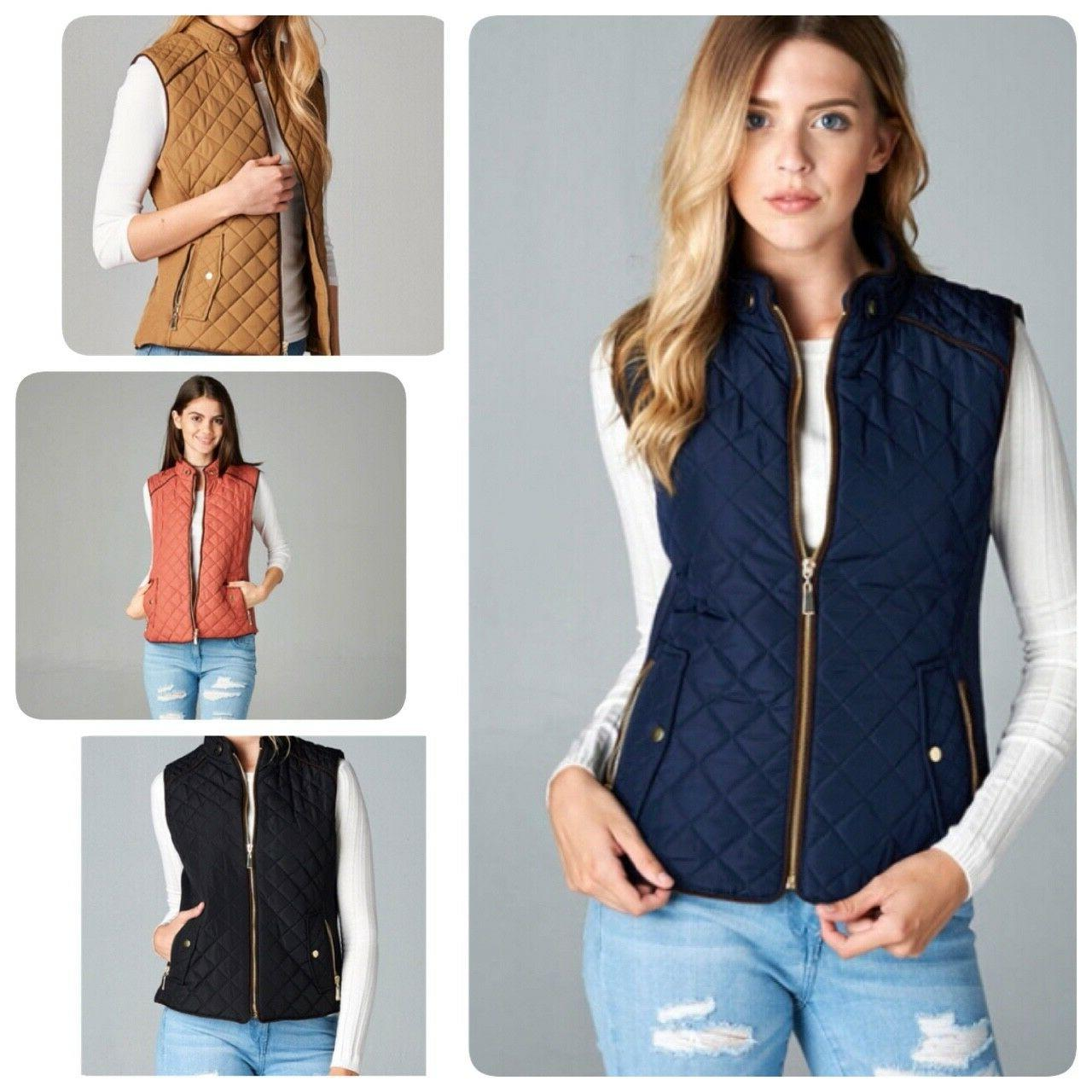 women s quilted padded vest with suede