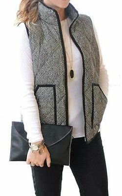 women s slim fall quilted herringbone puffer