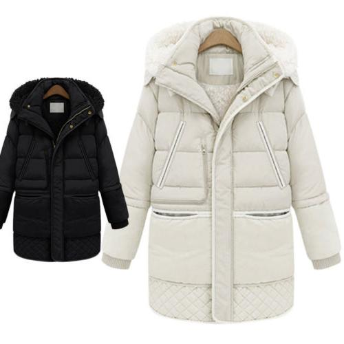Women's Cotton Thick Jacket Fleece Hooded Coat