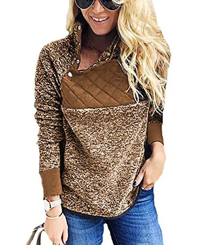 women s warm long sleeves oblique button