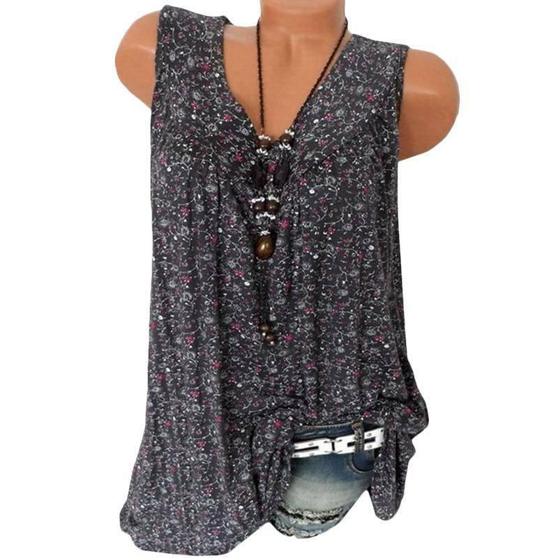Womens Floral Sleeveless Casual T-Shirt
